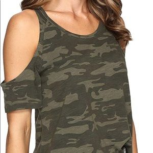 Camo Top with Cold Shoulder